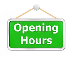 Opening hours sign and section header image. Opening hours listed underneath.